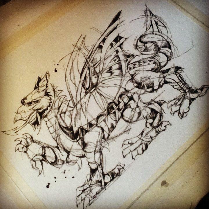 welsh dragon tattoo design for kris ink on watercolor paper 8 x10 tattoo designs pinterest. Black Bedroom Furniture Sets. Home Design Ideas