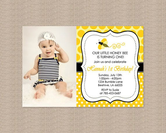 Bumble Bee Birthday Party Invitations By Honeyprint On Etsy 1500