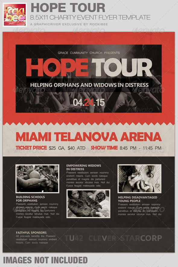 Hope Tour Charity Event Flyer Template Event flyer templates - benefit flyer template