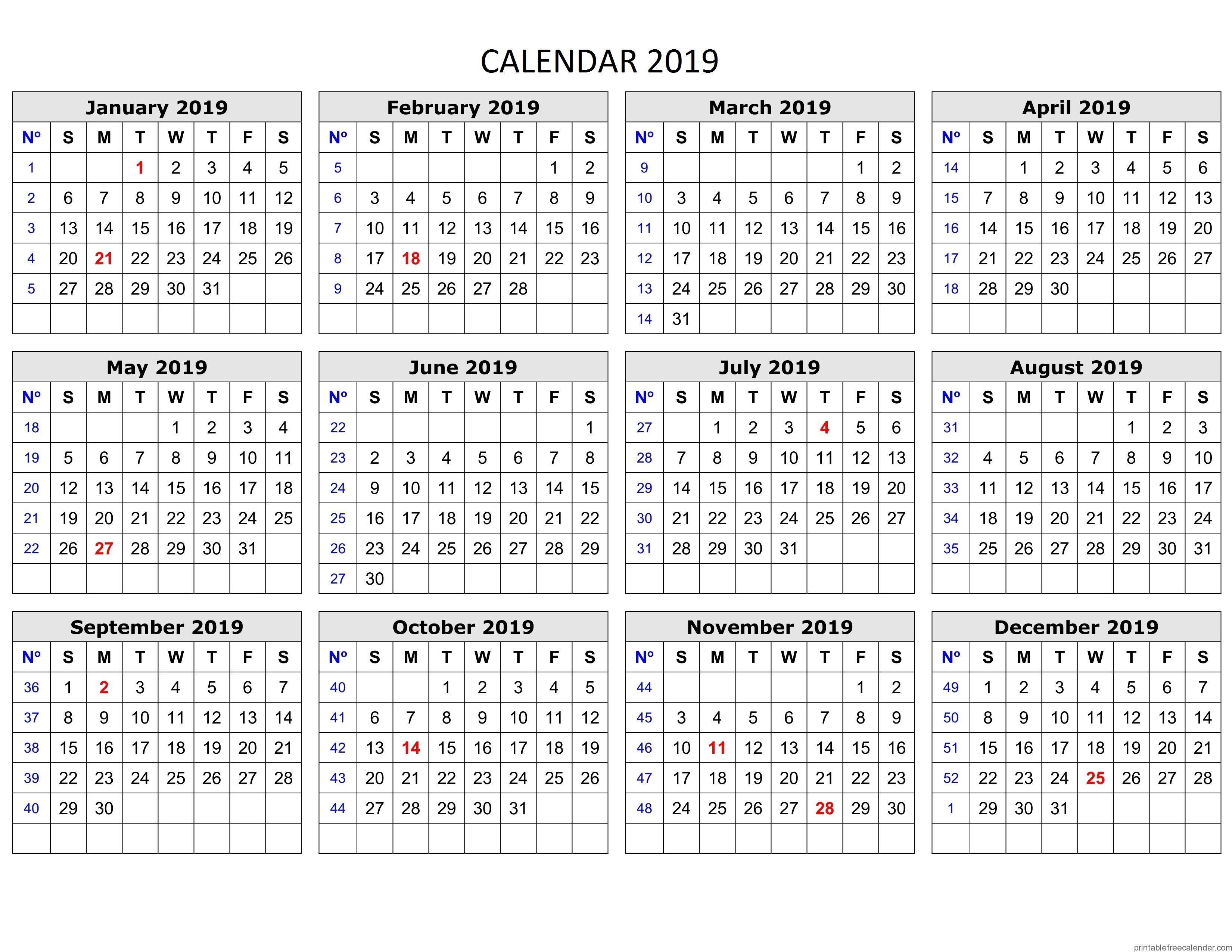 Free Printable Calendar 2019 (January To December With