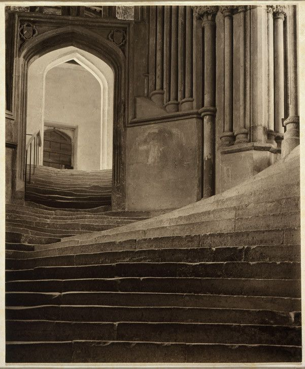 Frederick H. Evans  'A Sea of Steps – Stairs to Chapter House – Wells Cathedral'  1903  Platinum print