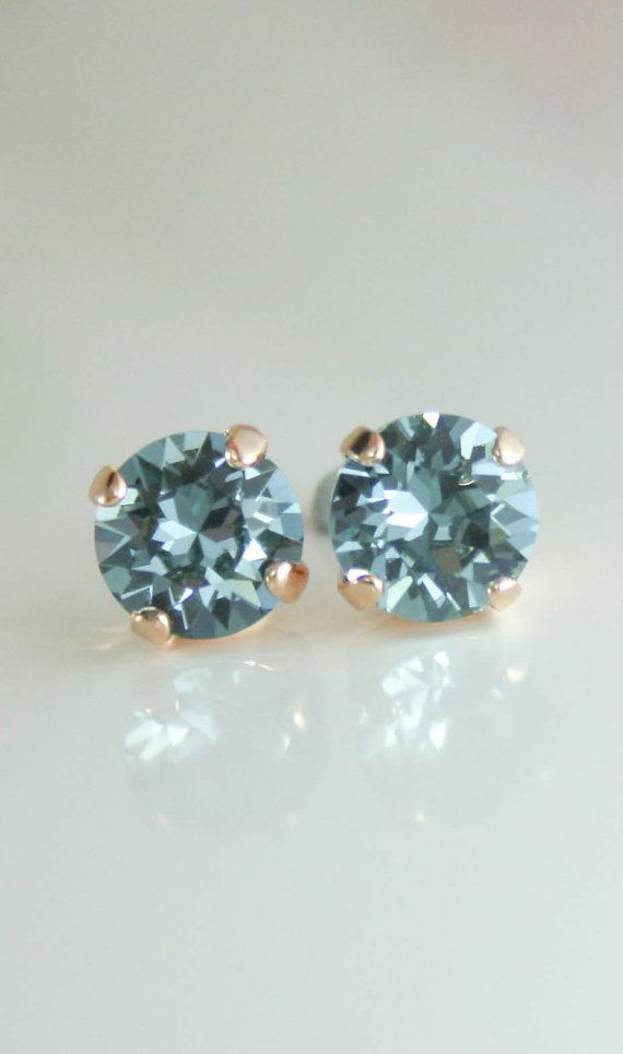 Rose Gold Earrings Stud Crystal Swarovski Indian Shire Blue