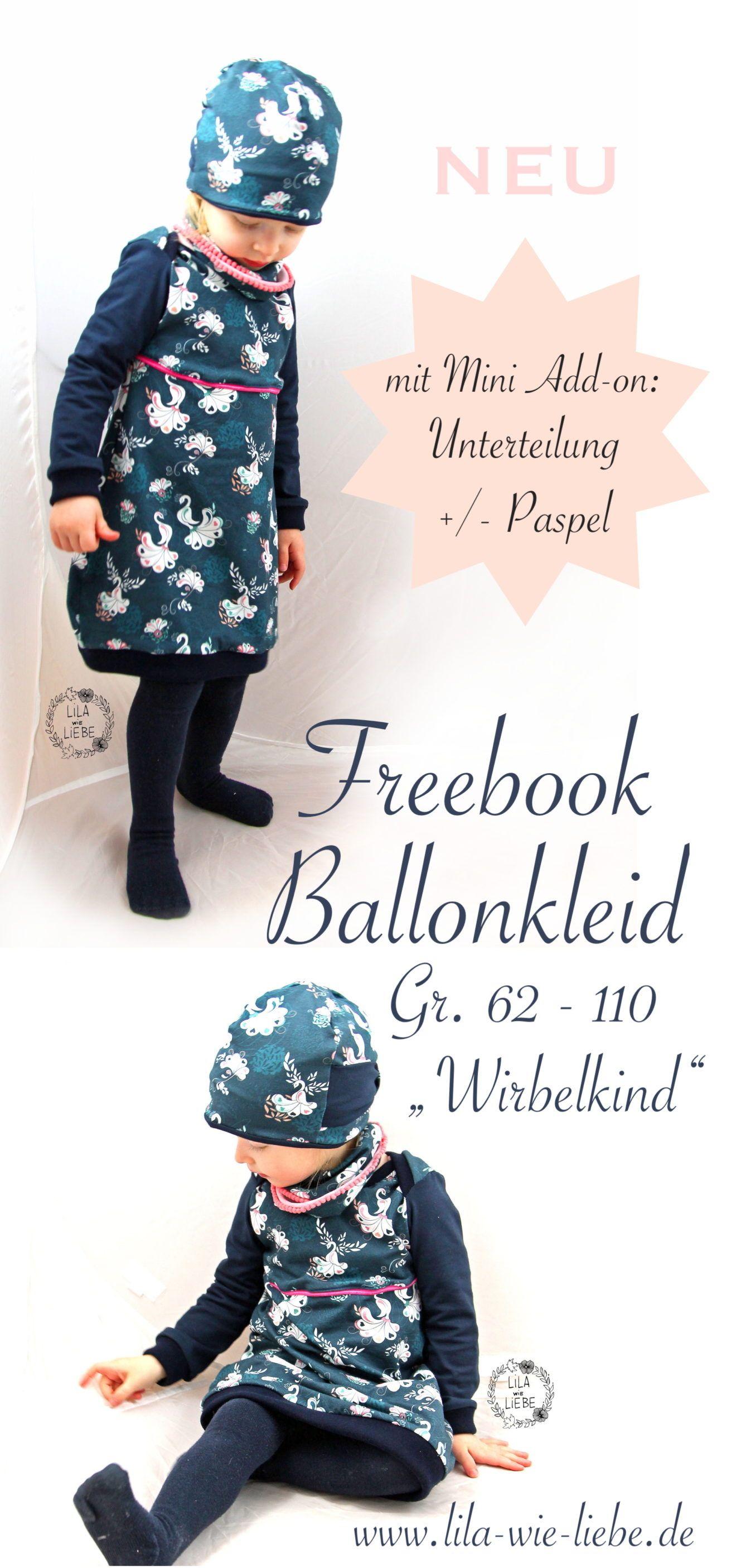 Ballonkleid für Kinder nähen - Freebook Wirbelkind Gr. 86-110 - Lila wie Liebe #strickenundnähen