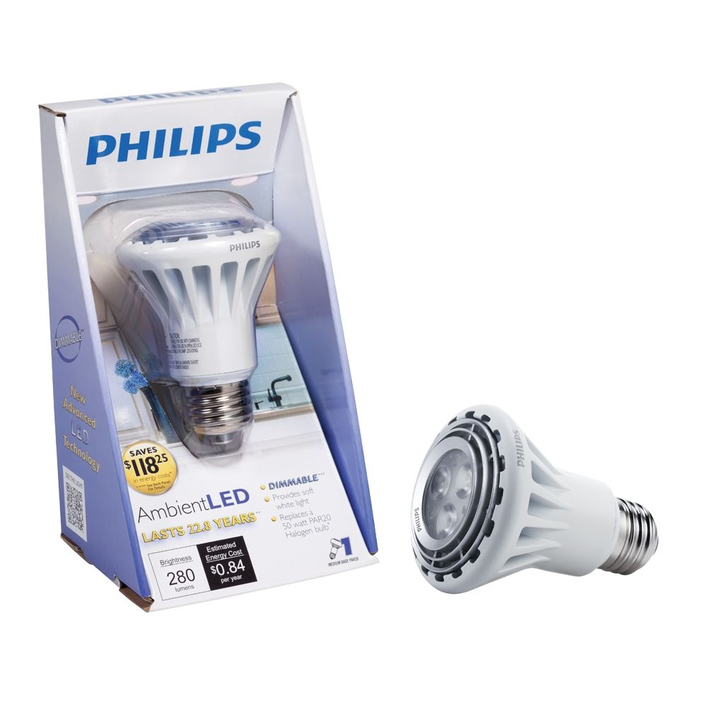 Philips Ambientled Tm Dimmable 50w Replacement Par20 Indoor Flood Led Light Bulb Warm White Color 2700 Kelvin Led Track Lighting Flood Lights Led Light Bulb