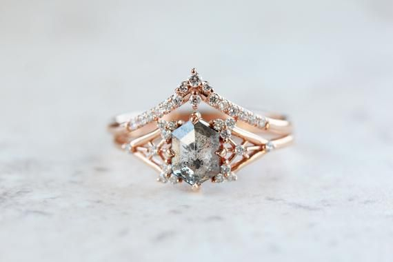 Salt and Pepper diamond engagement Ring snowflake