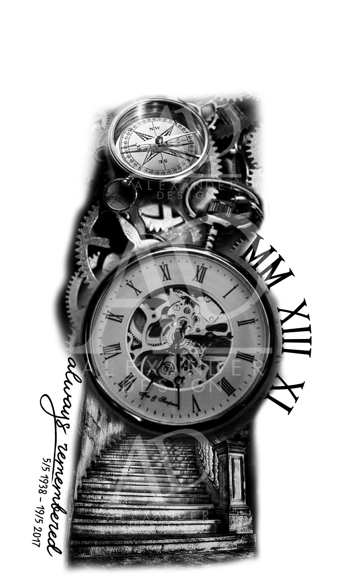 Sleeve Tattoo With A Pocketwatch Stair Clock Gears Compass Roman Numbers And Text Example Tattoo Sleeve Designs Watch Tattoo Design Clock Tattoo