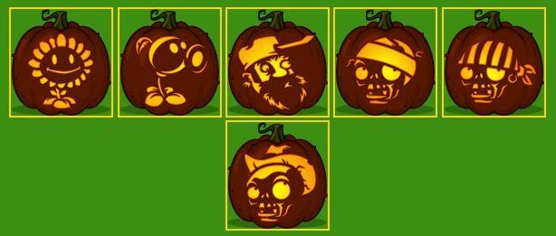 printable zombie pumpkin template  Plants Vs. Zombies pumpkin templates in 7 | Zombie ...