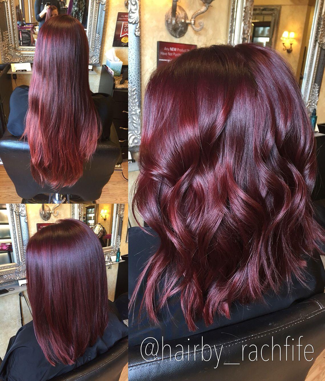 Bright red violet mermaid hair long bob haircut Hair by ...