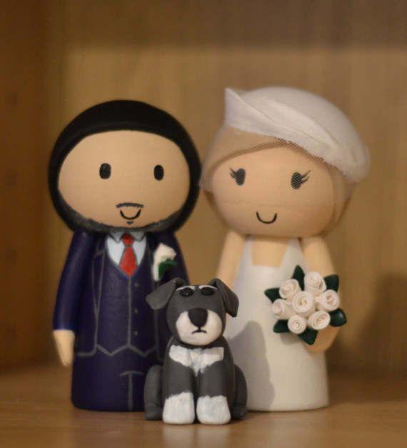Wedding Cake Topper Custom Made Bride And Groom With Minature Schnauzer Dog