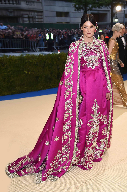 Tabitha Simmons wore a Dolce&Gabbana Alta Moda duchess gown and cape ...