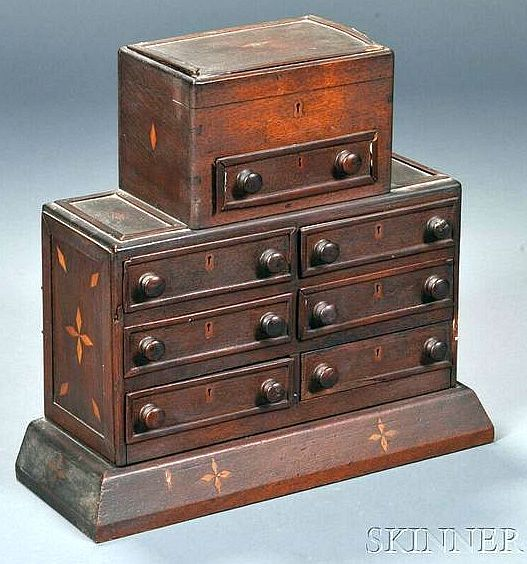 Inlaid Mahogany Sewing Box, 19th century, small box with lift top.