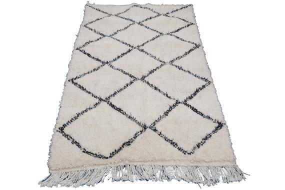Genuine Beni Ourain Rug Moroccan Hand Knit Wool Carpet Tapis