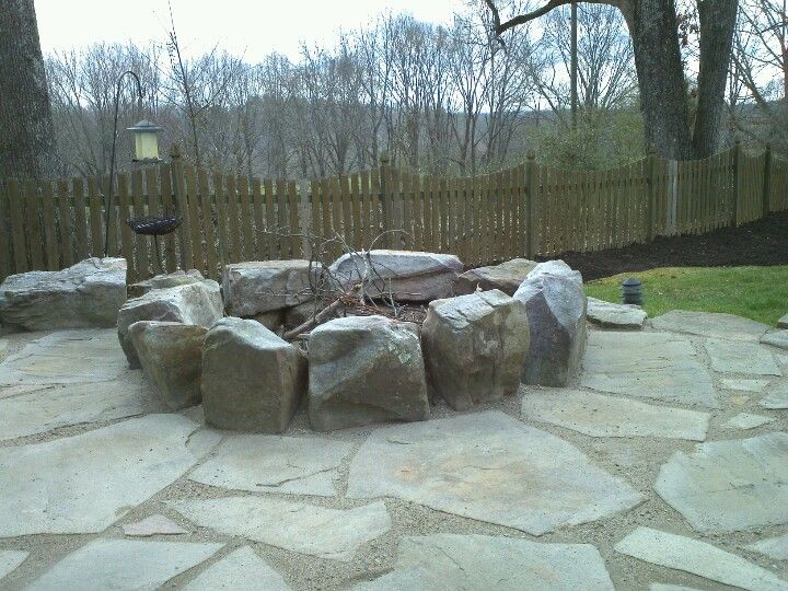 Filler For Stone Patio : Fire pit with flagstone using gator dust joint filler