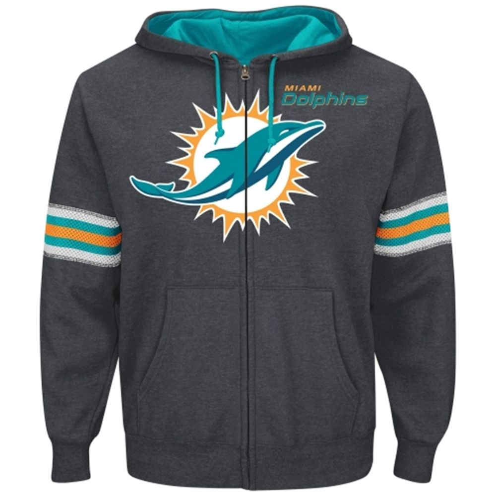7ded6289 Miami Dolphins Majestic Intimidating VI Full Zip Hoodie – Charcoal ...