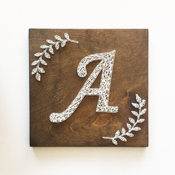 Monogram String Art, Monogram Art, Initial Art, Laurel Branches, Calligraphy #stringart