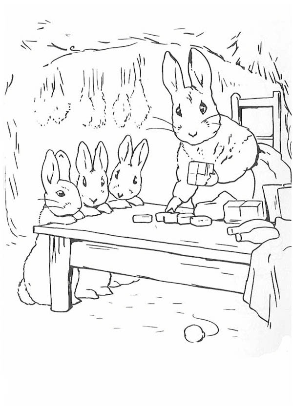 Peter Rabbit Mother And Sister Preparing Dinner Coloring Page Coloring Sky In 2020 Bunny Coloring Pages Coloring Pages Peter Rabbit