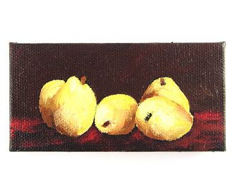 "Pear Painting - 4""x2"" Original Oil Painting  - Kitchen Decor - Chef/Foodie Gift  - Mini Canvas Painting"