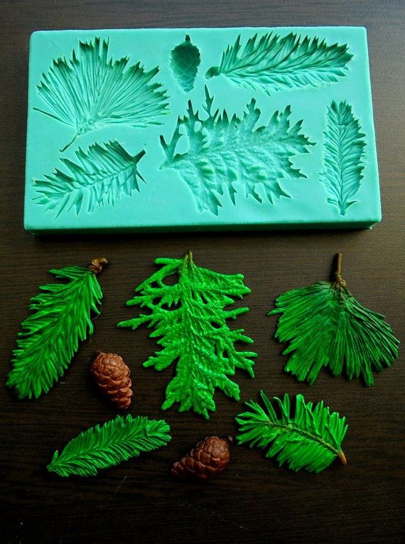silicone mould pine branches sugarcraft cake. Black Bedroom Furniture Sets. Home Design Ideas
