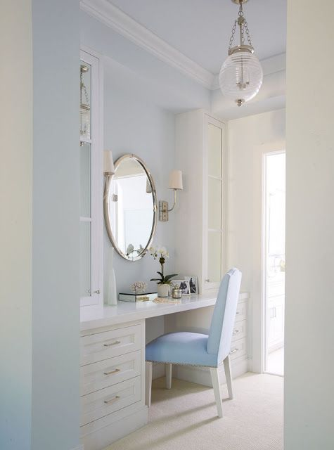 Built In Vanity Home Room, White Dressing Table With Built In Mirror