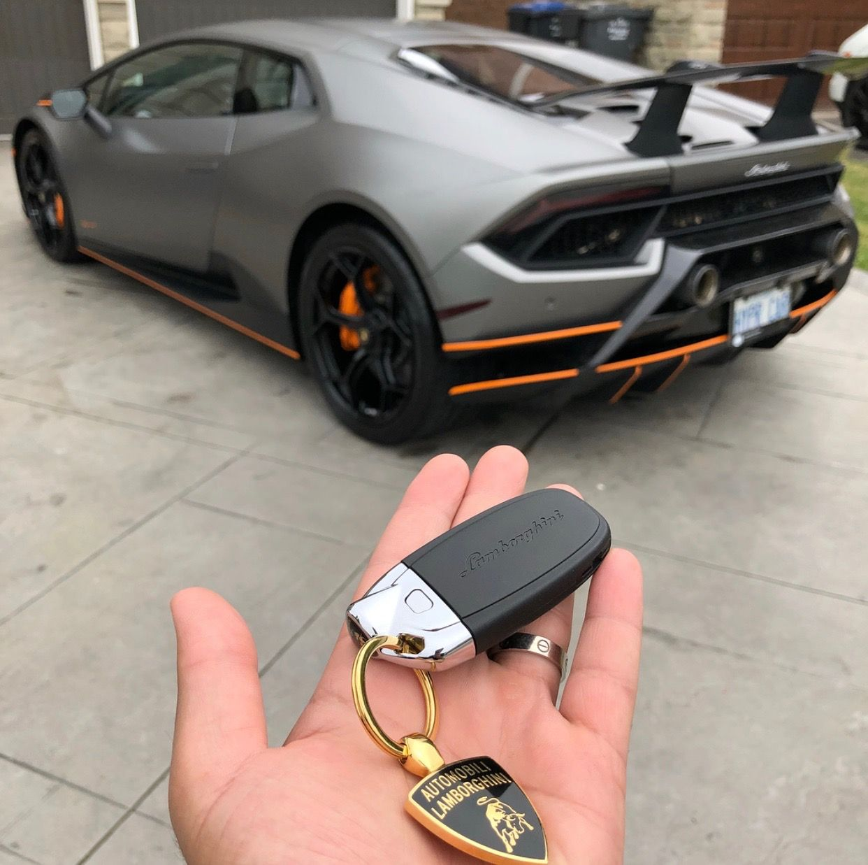 The Key Of The Lamborghini Huracan Performante Painted In Grigio Titans W Orange Accents Photo Taken By Ali Lamborghini Sports Cars Lamborghini Accent Car