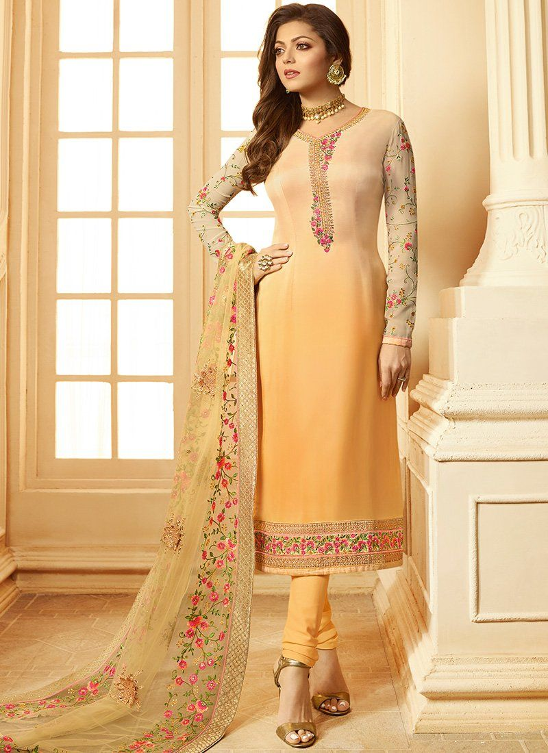 Shaded yellow viscose upadda silk straight suit in products