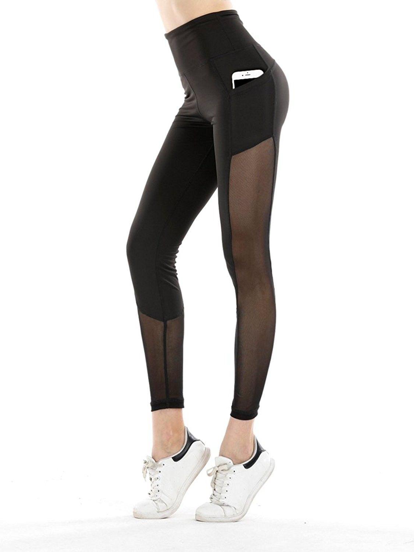 Womens Yoga Pants Tummy Control High-Waist and Hidden Pocket Leggings Best for Yoga Running Cycling