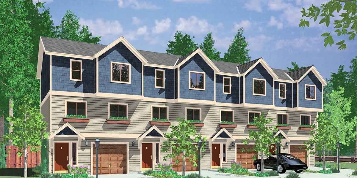 House front color elevation view for f 549 4 plex house for 4 plex townhouse plans