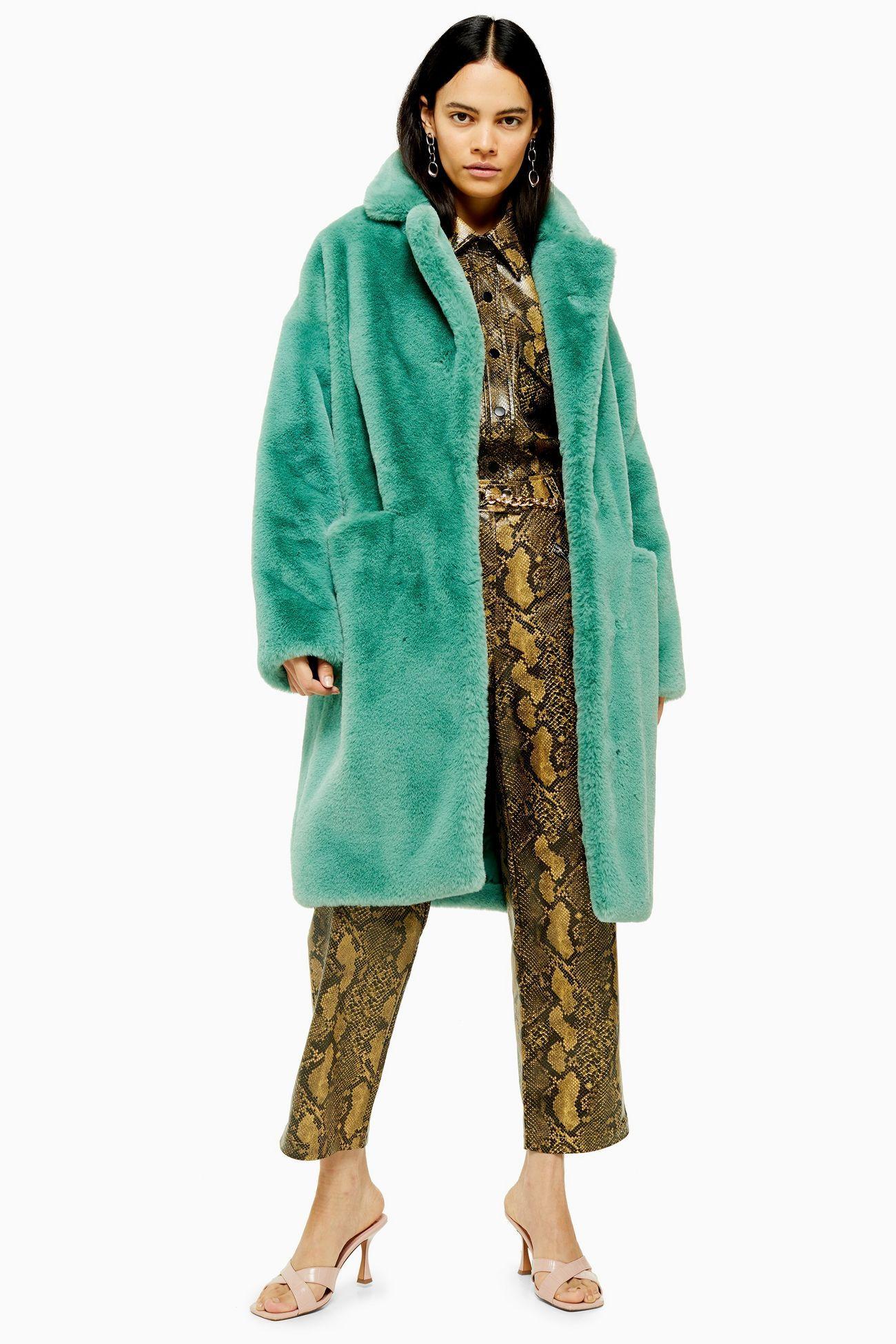 Sage Faux Fur Midi Coat