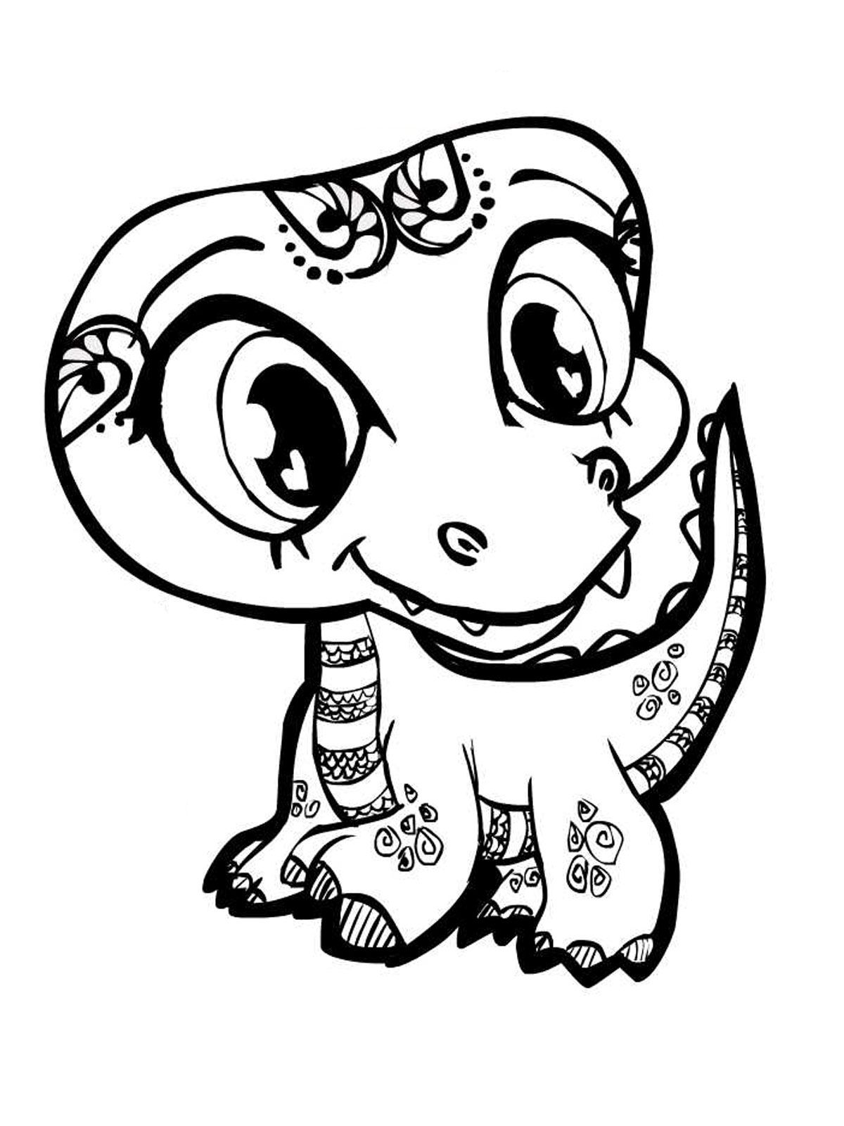 kids coloring pages Cute Smiling Alligator Kids Coloring