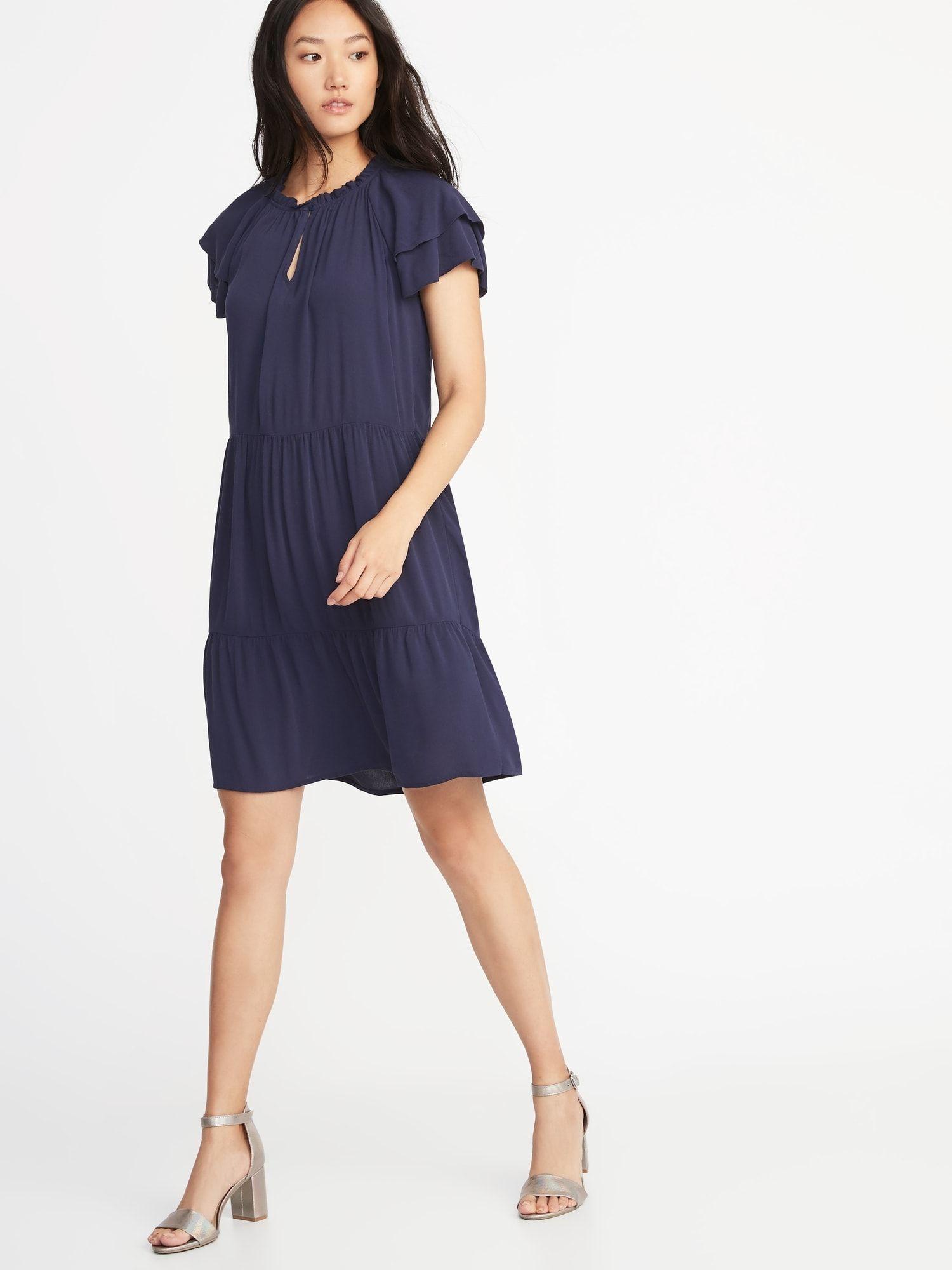 High Neck Ruffle Trim Swing Dress For Women Old Navy Womens Dresses Swing Dress Dresses