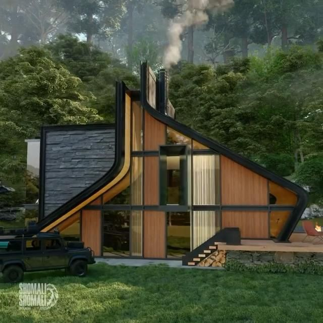 shomali design's 'kujdane' cabin offers a new take on the typical A-frame