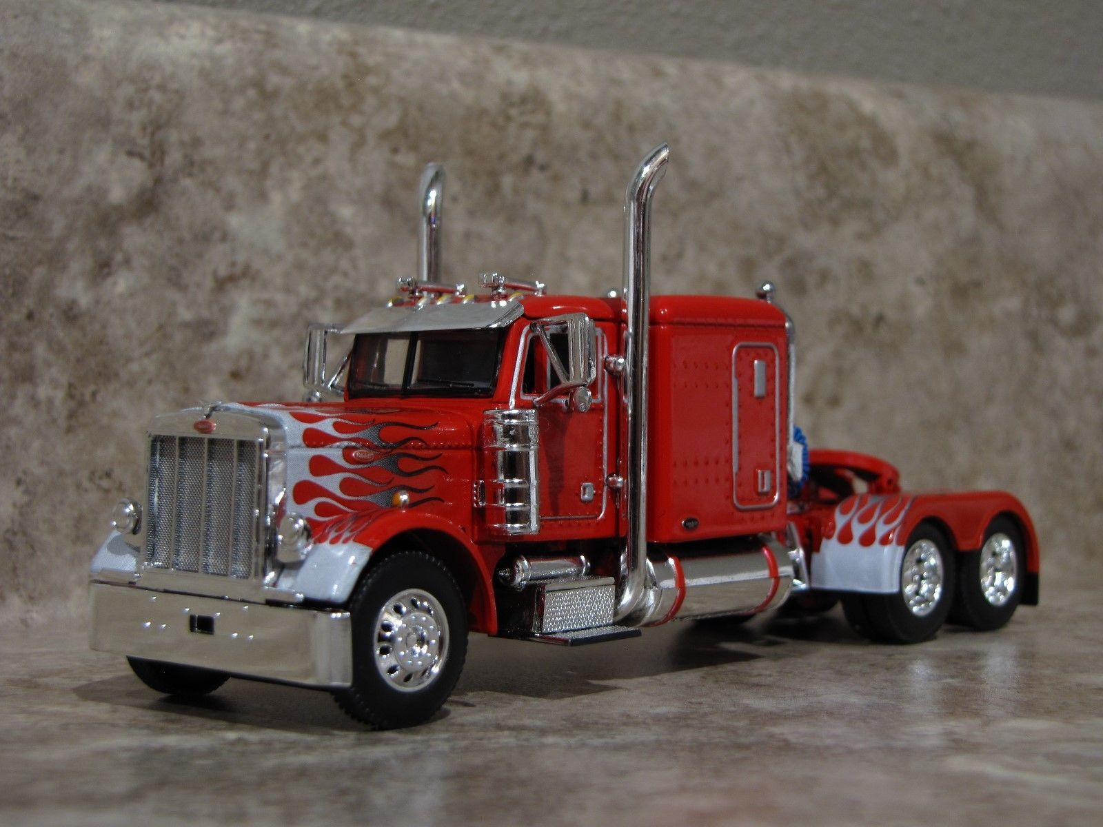 1 64 scale trucks and trailers - Dcp 1 64 Red White Flames Peterbilt Semi Truck Farm Toy Ebay