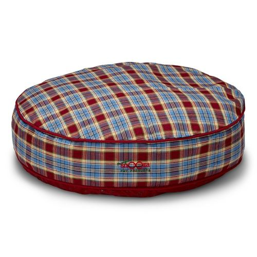 SNOOZA SHAPES ROUND DOG BED - RED AND BLUE TARTAN