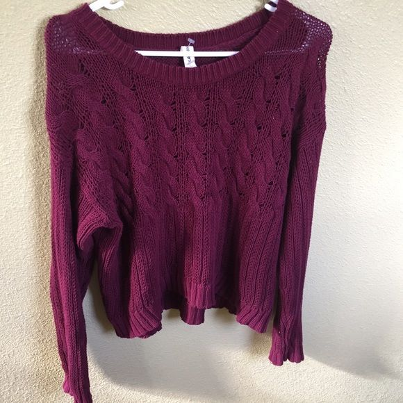 BURGUNDY THROW SWEATER. Super cute sweater! Maroon/burgundy. Can also be worn off the shoulders! Tagged Brandy for visibility. Brandy Melville Sweaters