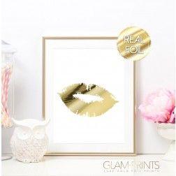 Lipstick Kiss Lips Smooch Gold Foil Art Print