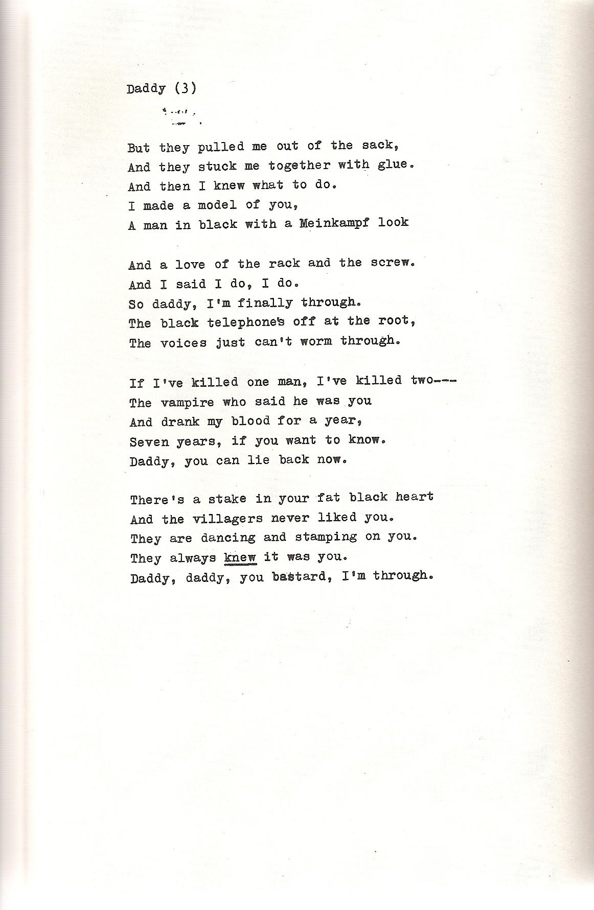 daddy poem sylvia plath