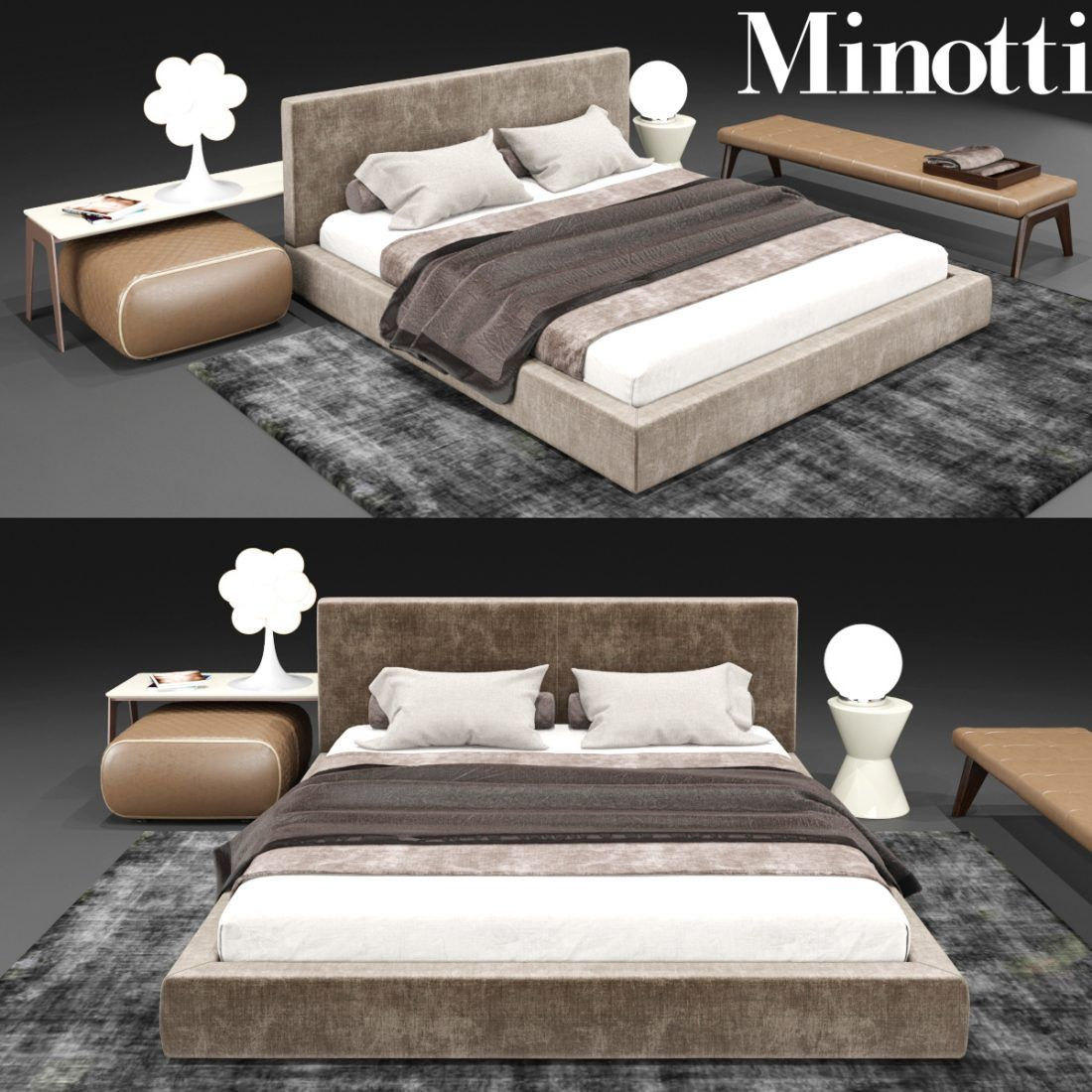 3D Minotti Set Bed Model 171 Free Download in 2020   Minotti. Bed. Bedding sets