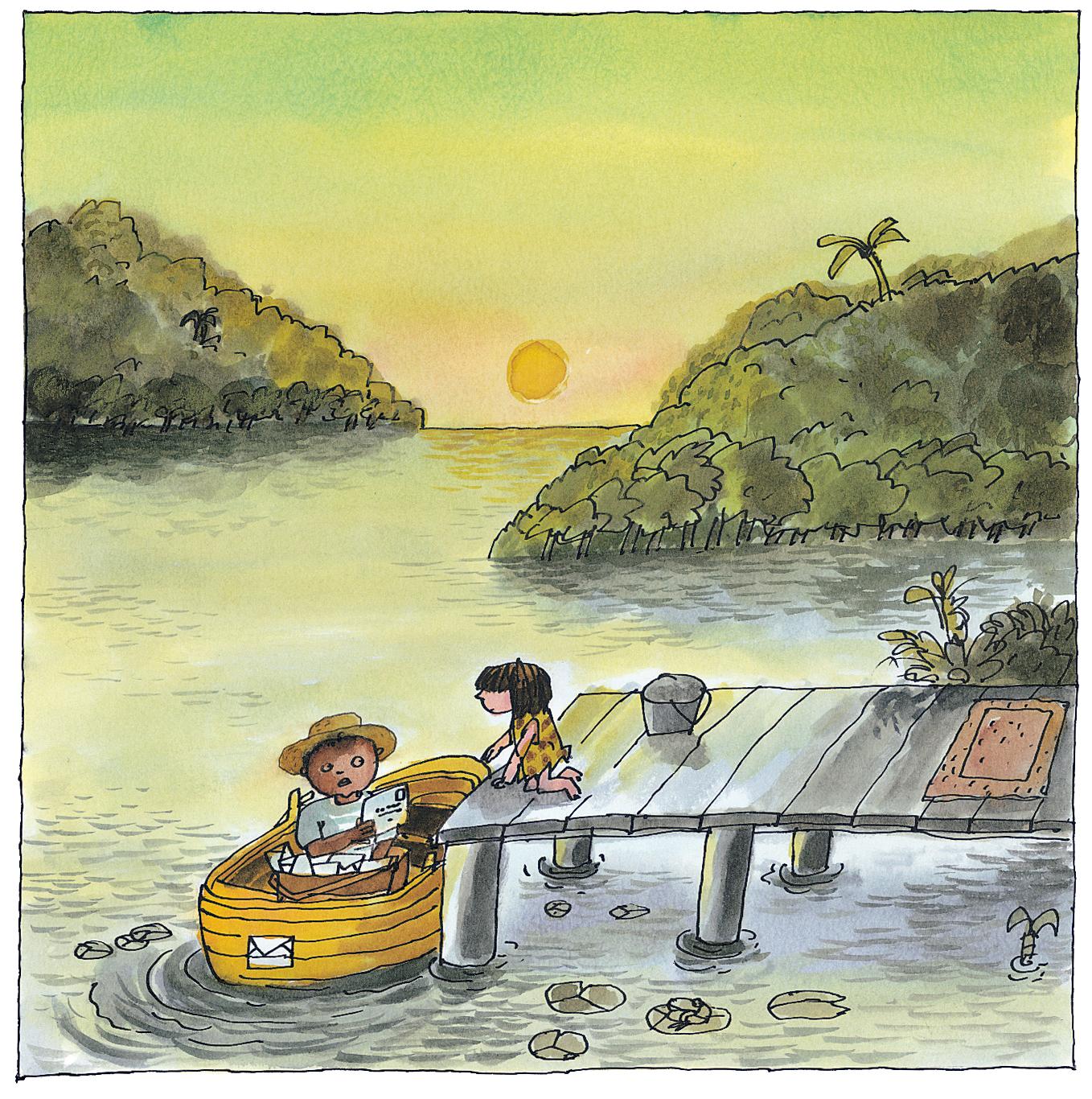 Ilustración de Emilio Urberuaga para La selva de Sara, editado por Edelvives.   Urberuaga obtuvo el Premio Nacional de Ilustración en 2011.