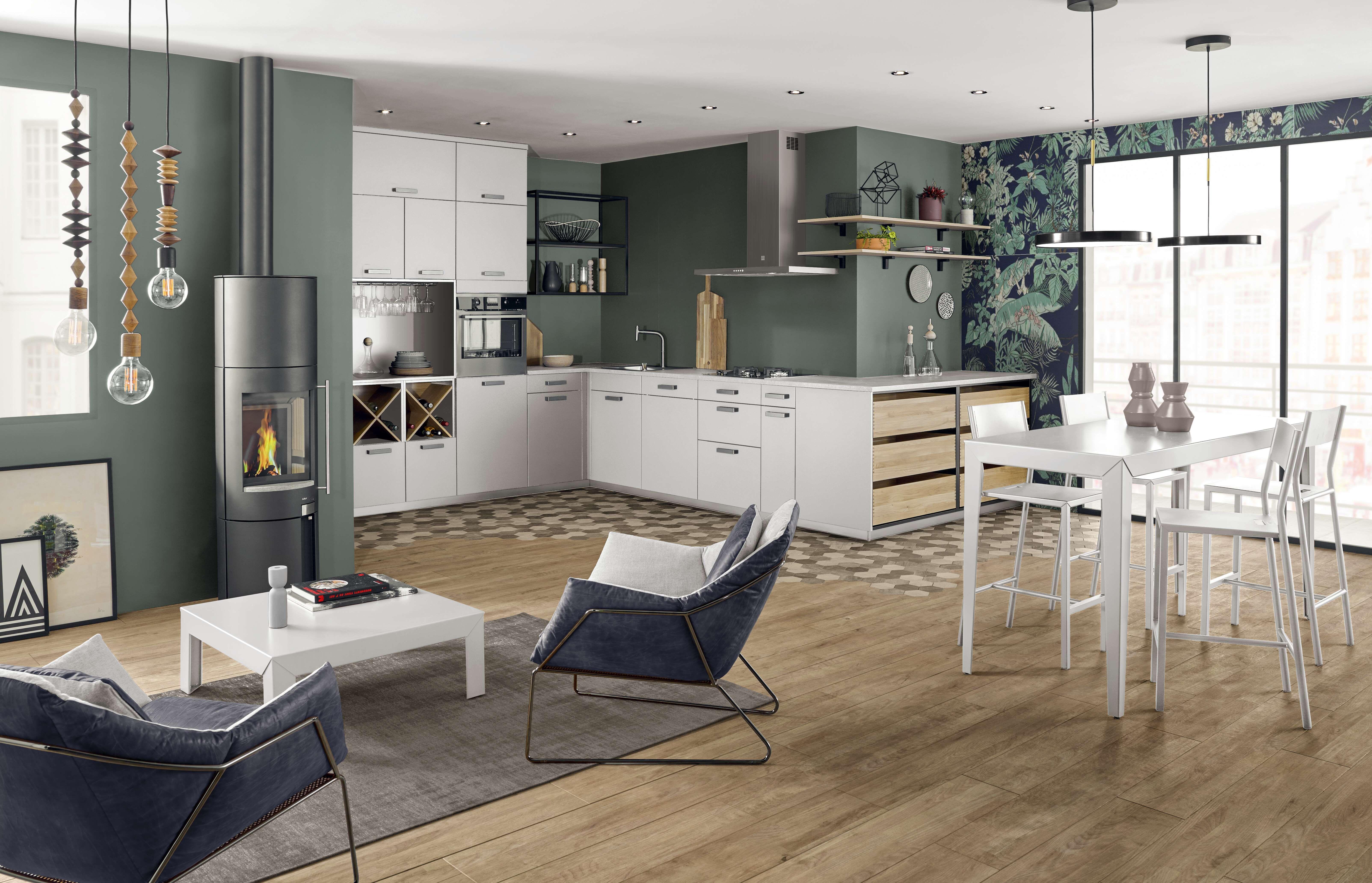 Ambiance Comptoir Meuble Rangement Cuisine Deco Appartement Mur Vert
