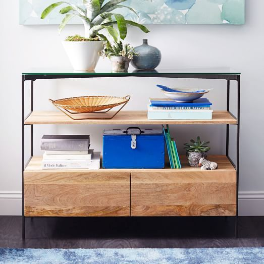 Glass Topped Rustic Storage Console Modern Furniture Living Room Modern Dining Table Modern Console Tables