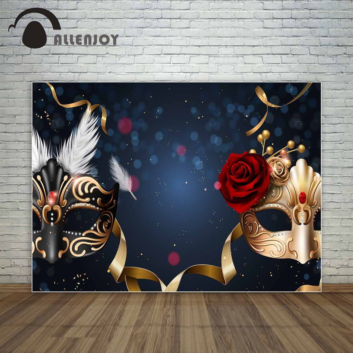 Masquerade Ball Prom Decorations: Allenjoy Black And Golden Masks Red Rose Dance Party Prom