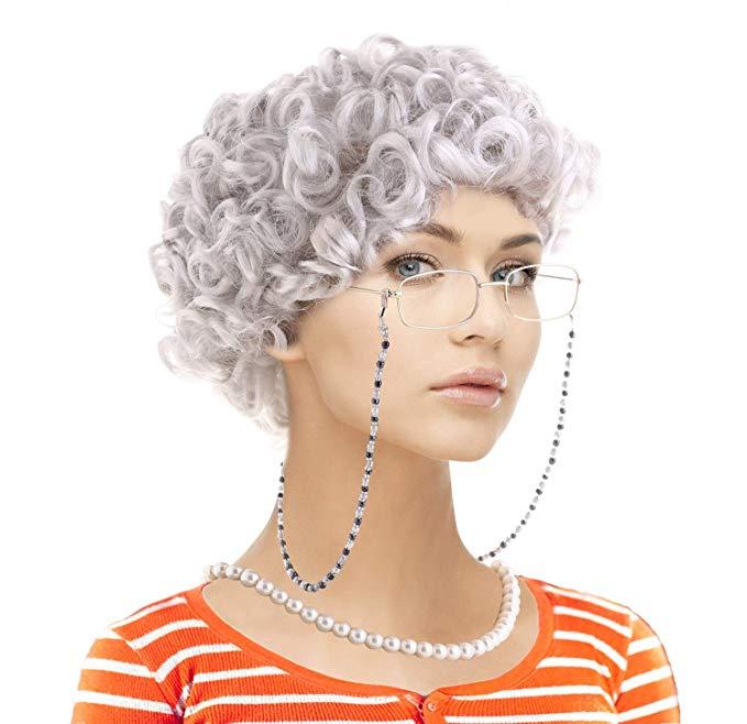Amazon Com Old Lady Cosplay Set Grandmother Wig Wig Caps Madea Granny Glasses Eyeglass Retainer Chain Pearl Eyeglass Retainer Granny Glasses Old Lady Costume