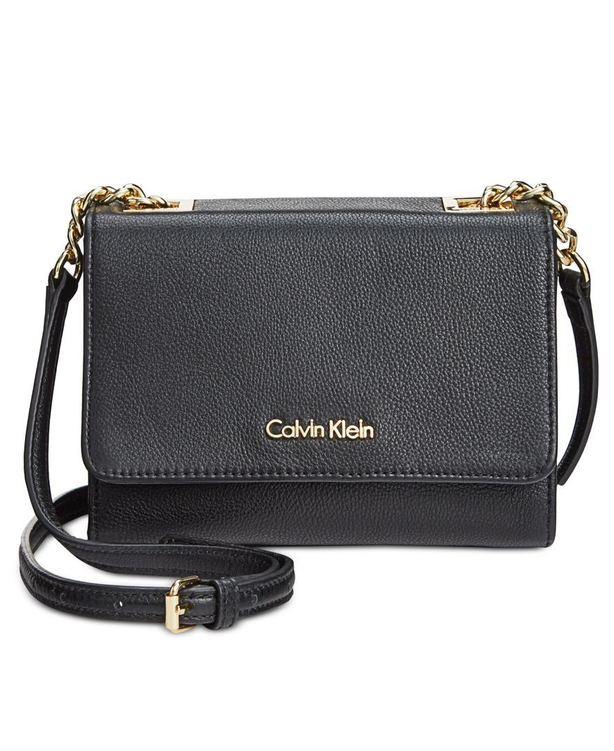 c0929d60a007 Calvin Klein Pebble Leather Mini Crossbody
