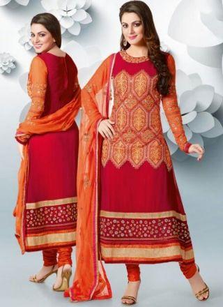 Dazzling Red Designer Long Churidar Suit http://www.angelnx.com/Salwar-Kameez