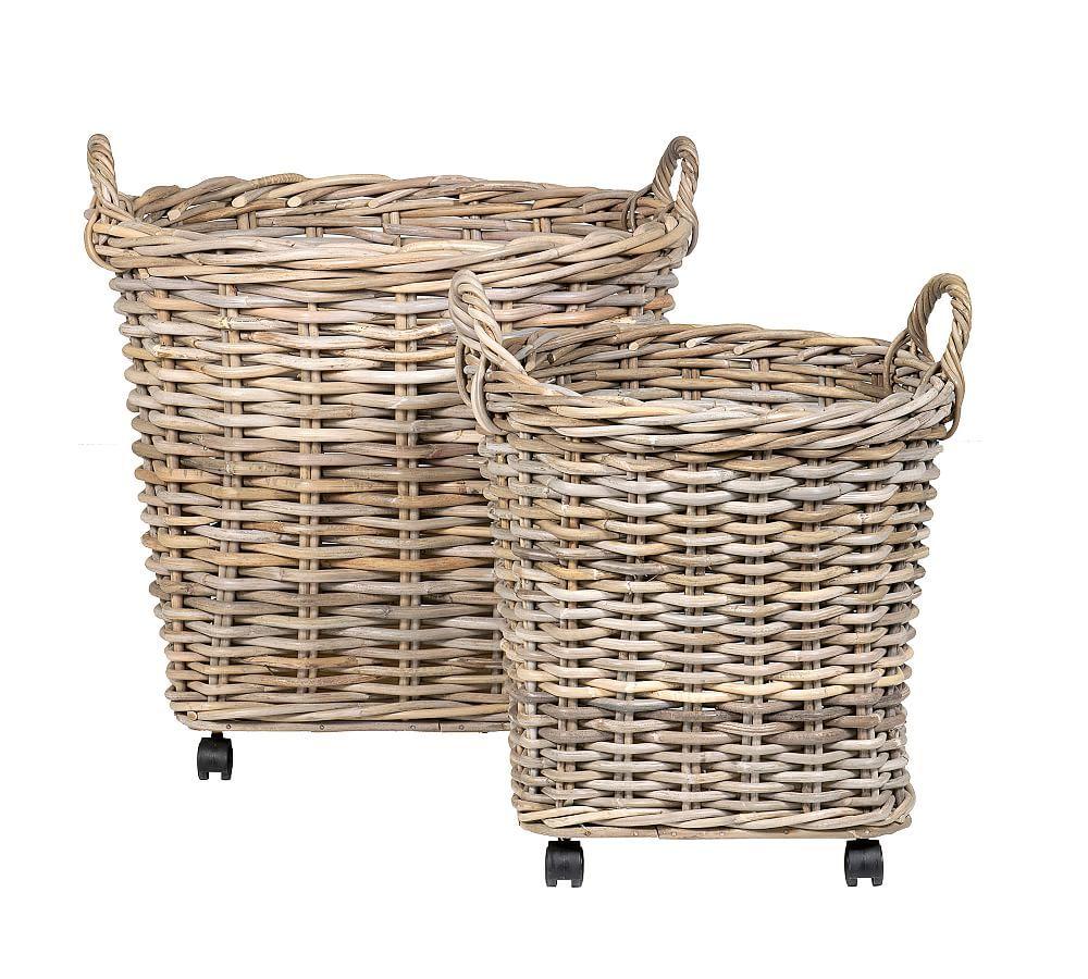 Portland Wheeled Woven Tote Baskets, Set of 2 Natural