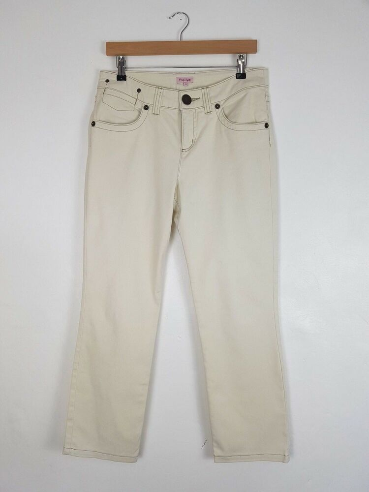 a7f2aae628275 Phase Eight Off White Straight Leg Ankle Grazer Jeans Trousers Size UK 12