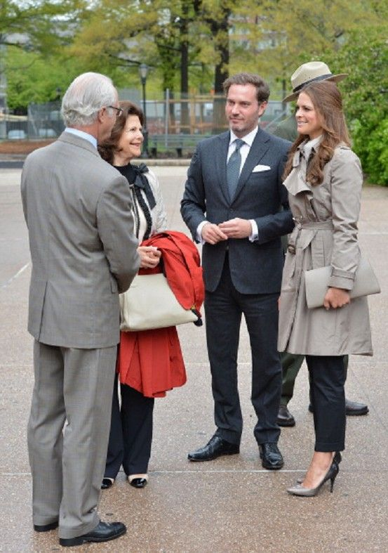 (L-R) King Carl XVI Gustaf of Sweden, Queen Silvia of Sweden, Princess Madeleine's fiance Chris O'Neill and Princess Madeleine of Sweden visit The Castle Clinton National Monument at Battery Park on 8 May 2013 in New York City