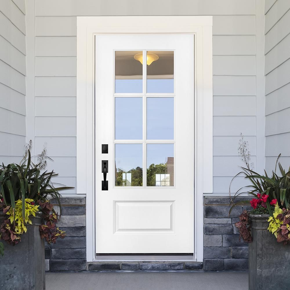 Steves & Sons 36 in. x 80 in. Legacy Series 6 Lite Clear Glass Left-Hand Inswing Primed Fiberglass Prehung Front Door, White Primed