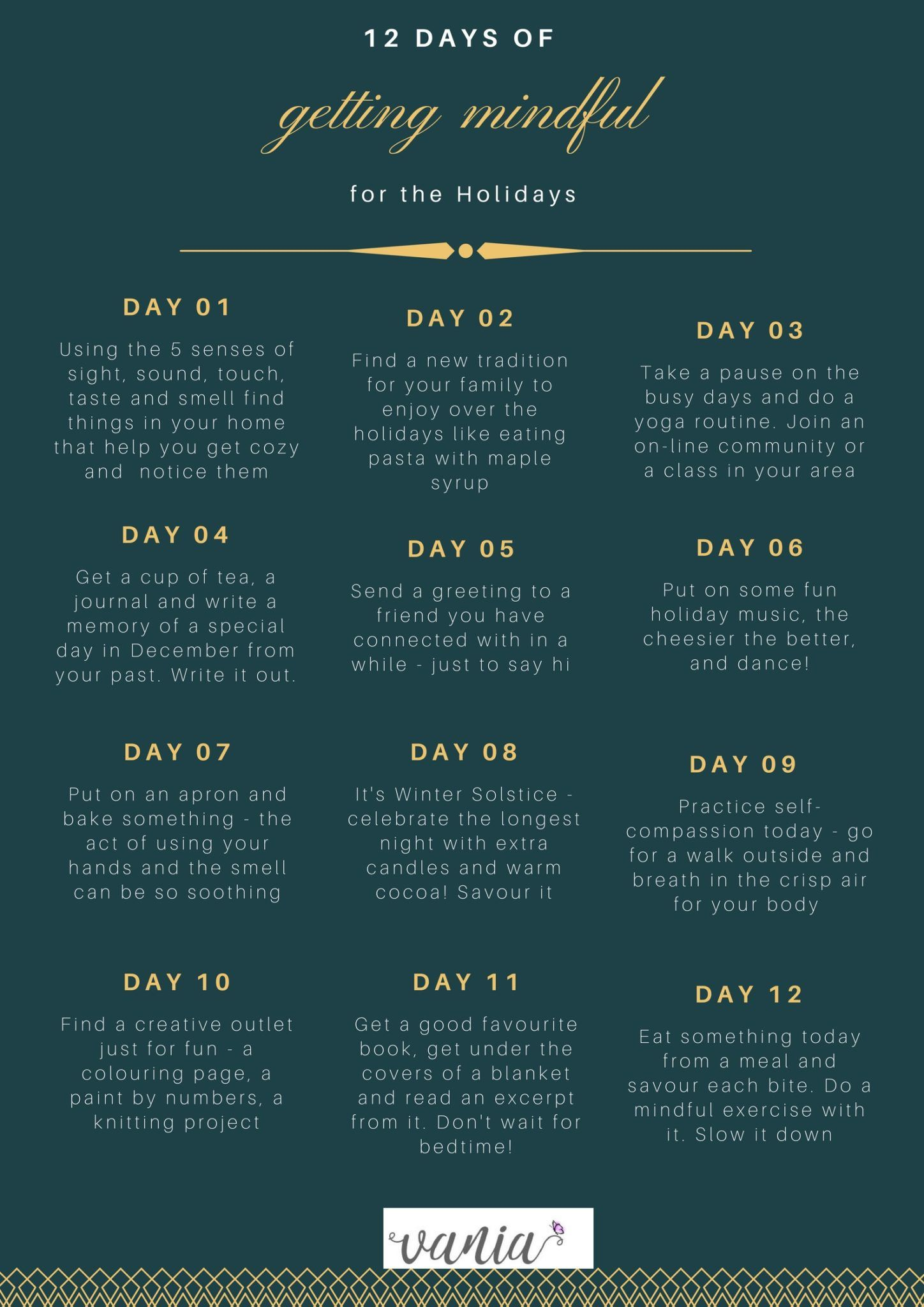 12 Days Of Getting Mindful For Holidays Worksheet