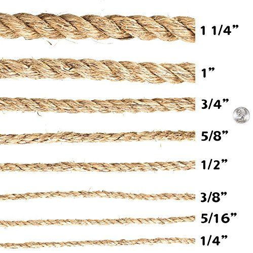 Twisted Manila Rope Hemp Rope 1 4 In X 50 Ft Sgt Knots Tan Brown Natural Rope Thick Heavy Duty Rustic Outdoor Cordage For C In 2020 Manila Rope Hemp Rope Rope Twist